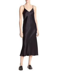 Bias-Cut Satin V-Neck Midi-Length Slip Dress
