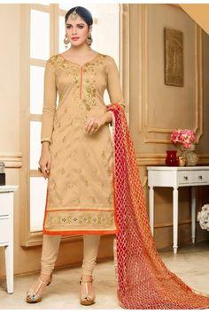 Office Wear Brown Silk Salwar Suit  - 80605