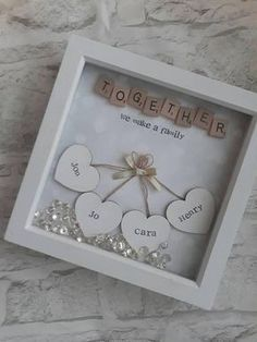 This Personalised Scrabble Frame is the Perfect Gift For Everyone and Every Occasion! Lots Of different words/ quotes can be used, extra hearts can be added ( for bigger families) at no extra cost. **ordering information** After youve added to cart t Scrabble Frame, Scrabble Tiles, Framed Wooden Letters, Scrabble Art, Diy Mothers Day Gifts, Parent Gifts, Mother Day Gifts, Mothers Day Ideas, Craft Ideas
