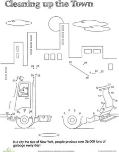 First Grade Dot-to-Dots Counting Worksheets: Dot to Dot Dump Truck