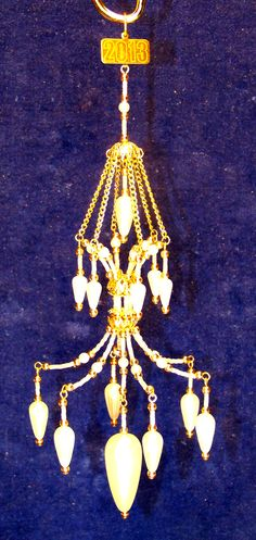 White beaded Chandelier ornament with Pearls