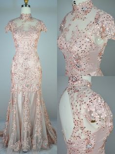 Mermaid lace gown in baby pink. And a really good price. I like the illusion waistline and bodice and the keyhole back. Event Dresses, Bridal Dresses, Bridesmaid Dresses, Prom Dresses, Lace Prom Gown, Pink Evening Gowns, Dresses For Teens, Beautiful Gowns, Pretty Dresses