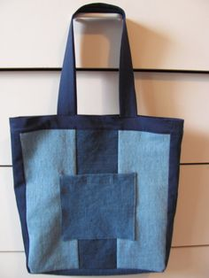 denim patchwork tote bag by HandmadeFabricCrafts on Etsy