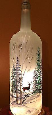 Pintado À Mão Grande Vidro Fosco Garrafa Vinho Iluminada Com Árvores E Veado | Casa e jardim, Decoração para casa, Garrafas | eBay!