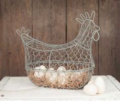 Farmhouse/Cottage/Primitive/Country Chicken Wire Egg Basket x x Opens from the front with a clip. Eggs are not included. Fresh Chicken, Chicken Eggs, Chicken Wire, Wire Egg Basket, Wire Baskets, Vintage Farmhouse, Farmhouse Decor, Farmhouse Style, Rustic Cottage