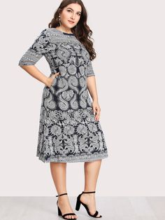 30056bbbbbc Shop Plus Baroque Print Hidden Pocket Dress online. ROMWE offers Plus  Baroque Print Hidden Pocket Dress   more to fit your fashionable needs.