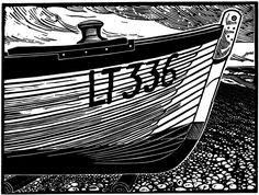 Bow of an Aldeburgh Beach Boat Linocut. James Dodd, Jardine Press.