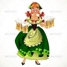 Leprachaun Girl in Green with Beer
