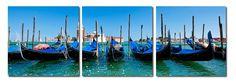 Gondola Fleet Mounted Photography Print Triptych
