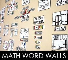 Links to math word walls, including math word walls for 5th grade, 6th grade, 7th grade, 8th grade, Algebra, Geometry and Algebra 2. Read about the ways adding a math word wall to your classroom makes teaching and learning easier. #mathwordwall