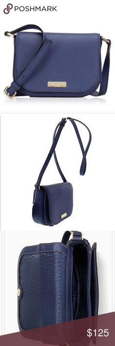 """Kate Spade Laurel Way Carsen Crossbody Bag Brand New Kate Spade Laurel Way  Carsen Crossbody Bag in Oceanic Blue Material: Saffiano Leather; Fabric Lining Adjustable strap: 20.5"""" to 23.5"""" drop Approximate Dimensions: 7""""L x 5""""H x 2.5"""" W Kate Spade Bags Crossbody Bags"""