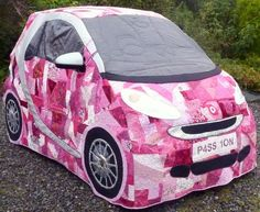 Patchwork car cover for a Smart Car