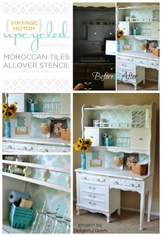 Use the Moroccan Tiles Stencil to transform an old hutch like this! http://www.cuttingedgestencils.com/moroccan-tiles-wall-pattern.html