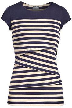 Striped solid yoke nursing top | Navy – Milk & Baby