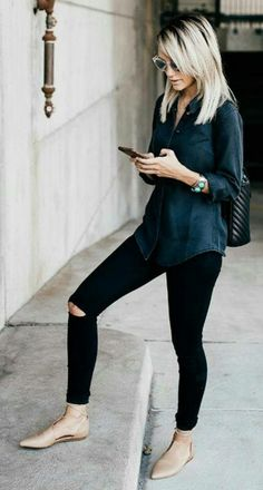 Nearly all black...then nude flats