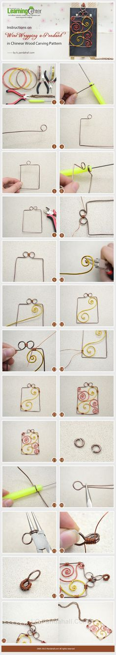 How to Wrap a Pendant in Chinese Wood Carving Pattern #Wire #Jewelry #Tutorials