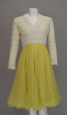 Lace & lemon chiffon cocktail dress 1960s Lillie Rubin