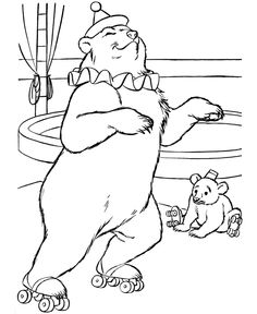 Circus Animal Coloring Pages | Printable performing Trained circus bear coloring page and kids activity sheet | HonkingDonkey