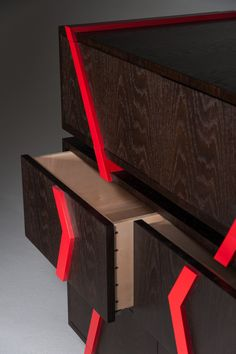 Detail of The Pop/Deco Chest - The drawer interior is made from Rippled Sycamore and Cedar of Lebanon