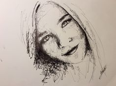 Fast drawing. Ink. Girl
