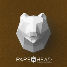 Wall-type Bear head template PDF by PaperheadDesign on Etsy