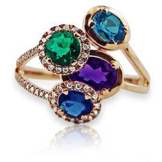 Rosendorff Amethyst Emerald and Blue Topaz Ring★♥★