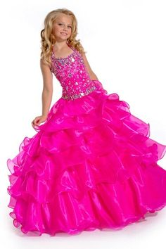Pink pageant dress for little girls