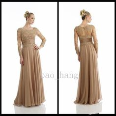 New Custom Popular Long Sleeves Gold Lace Applique Evening Mother Of Bride Dress #Dress