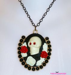 Black Red Rose Goth Skull Cameo Necklace by Pinkspiderwebs on Etsy