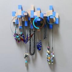 DIY Jenga Game Piece Necklace Rack.