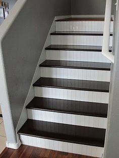 Beadboard on stair risers. Great solution if your risers have gaps or aren't in the best shape!.