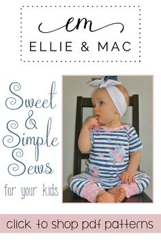 This gorgeous baby girl looks so cute in her mama-made romper! This pattern is so simple to make too! Easy Sewing Patterns, Pdf Sewing Patterns, Sewing Ideas, Diy Fashion, Trendy Fashion, Fashion Tips, Ellie And Mac, Romper, Girls Dresses
