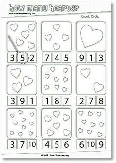 How Many Hearts? Counting worksheet for Preschool/Kindergarten. How Many Hearts? Numbers Preschool, Preschool Lessons, Preschool Kindergarten, Preschool Learning, Kindergarten Worksheets, Teaching Math, Preschool Activities, Number Worksheets, Valentines Day Activities
