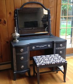 Beautifully done-Silver Accent Antique Vanity by WisteriaAve on Etsy, $325.00