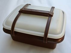 Vintage Tupperware, Tupperware Lunchbox, Brown Tupperware, Lidded Tupperware by DomesticTitanVintage on Etsy