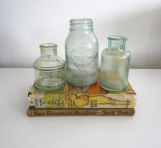 Set of 3 Glass Bottles Including Horlicks Malted Milk by KimBuilt,