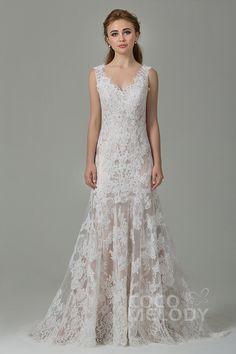 Fabulous Sheath-Column Straps Natural Train Lace Ivory/Champagne Sleeveless Open Back Wedding Dress CWXT14061