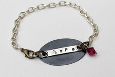 Pink Bead Hope Stamped Bracelet Beaded Jewelry by LittleBitsOFaith