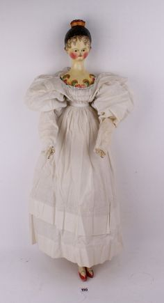 A rare and fine large Grodner Tal wooden doll, Ger
