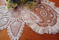 2 Doilies Doily Crocheted Doily White Vintage Doilies  B268 by treasurecoveally on Etsy
