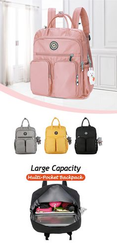 Large Capacity Multi-Pocket Waterproof Backpack (Second off) Stylish Backpacks, Cute Backpacks, School Backpacks, Kindergarten, Waterproof Backpack, School Supplies, Purses And Bags, Fashion Accessories, My Style