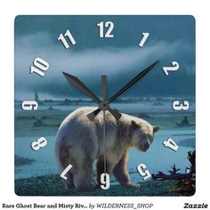 Rare Ghost Bear and Misty River Wildlife Scene Square Wall Clock