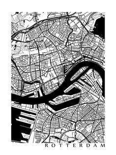 Rotterdam Map Art Poster Print customize your door CartoCreative