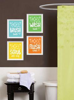 DIGITAL DOWNLOAD - Childrens Kids Bathroom Art Print Set of (4) 8 x 10 Fine Art Home Decor  Blue Green Yellow Orange on Etsy, $18.00