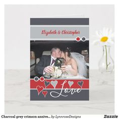Charcoal grey crimson anniversary with photo card Happy Anniversary 1 Year, Wedding Anniversary Greeting Cards, Wedding Anniversary Photos, Red And Grey, Gray, Custom Greeting Cards, Love Heart, Party Hats, Photo Cards