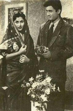 Madhubala and Devanand on the sets of Kala Pani circa