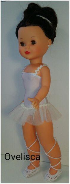 OVELISCA - Conjunto de ballet en blanco y beige,  con zapatillas de crochet para muñeca Nancy
