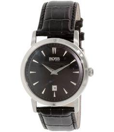 Hugo Boss Men's 1512637 Black Leather Analog Quartz Watch