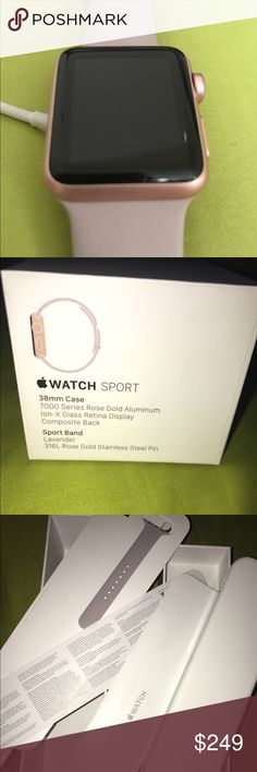 *MINT* BAREY USED iWatch 38mm Rose Gold w/2 bands APPLE iWATCH SPORT -- Original box with manuel and never used second band. I barely used the watch because I am barely on my phone due to work but if I could I would've kept it. It works like new. Things that come with it: *original charger, *original box, *original bands, and *case. I will negotiate simply because it's been in my closet with no use what's so ever! Happy shopping and Happy holidays (Pandmark) 💕 Will SHIP by tomorrow morning…