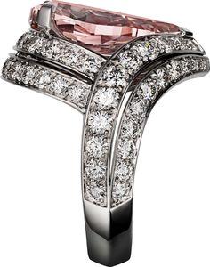CARTIER. Ring - platinum, one 5.25-carat fancy intense pink VS1 pear-shaped diamond, brilliant-cut diamonds. #Cartier #CartierMagicien #HauteJoaillerie #FineJewelry #PinkDiamond